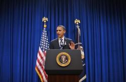 US President Barack Obama delivers a sta